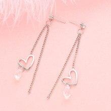 Cute Sweet Pendant Heart Tassel Earrings For Women Accessories Fashion Acylic Long Dangle Earrings Jewelry Gift Women's Earrings elegant decoration acylic rhinestone earrings pendant set pink golden