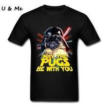 Hot T Shirt Teenager 5 월 Pugs Be with You 셔츠 탑스 3D Pug Dog 티셔츠 남성 의류 여름 만화 100% Cotton Round Neck