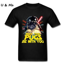Hot T Shirt Teenager May The Pugs Be with You Shirts Tops 3D Pug Dog T shirts Men Clothes Summer Cartoon 100% Cotton Round Neck