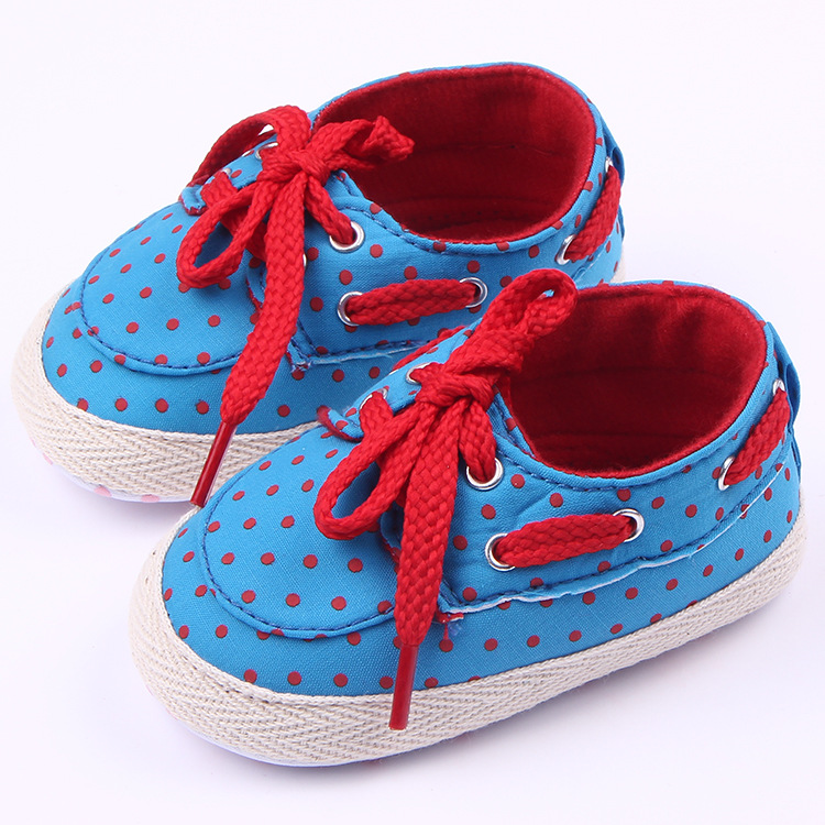 Classic Children Baby Kids Boy Girl Canvas Sport Dot Floor Shoes Autumn Fashion Non-Slip Soft Toddlers First Walkers
