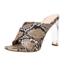 6e8c7c394c (Ship from US) 2019 Women's Slippers Summer Beach Casual Shoes Snakeskin  Glass High Heel Slippers Platform Shoe Lady Fashion Outdoor chaussures