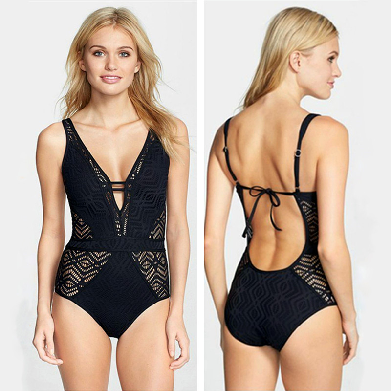 Sexy Lace One Piece Swimsuit 2017 Swimwear Women Bodysuit Monokini Crochet Swimwear Bathing Suits Beach Wear Maillot De Bain XXL aleumdr new 2017 plus size women bodysuit swimsuit print one piece monokini beach wear swimwear sexy bathing suits 410071