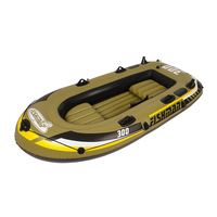 Intex Excursion 2 4 Person Inflatable Boat Set with Aluminum Oars and High Output Air Pump (Latest Model)