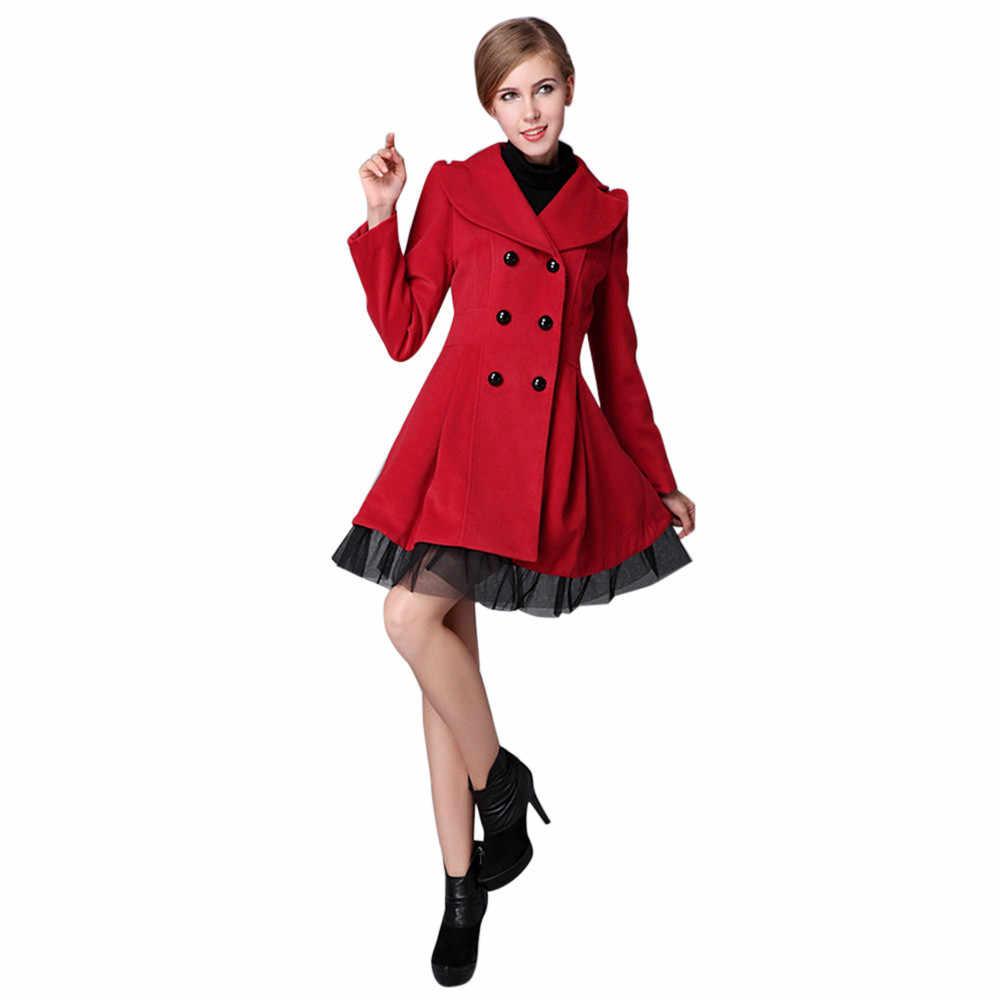 Feitong Для женщин Flare двубортный Тренчи для женщин куртка женские длинные нагрудные пиджаки бушлат зимняя куртка Для женщин S Большие размеры куртка-пилот