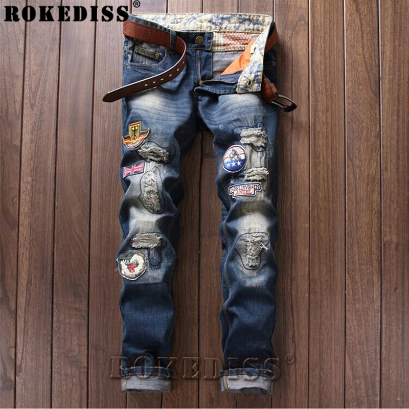 Bell bottom jeans men 2017 Spring and Autumn New fashion Slim High Street Hole Micro-chapter trousers hot Straight pants C157