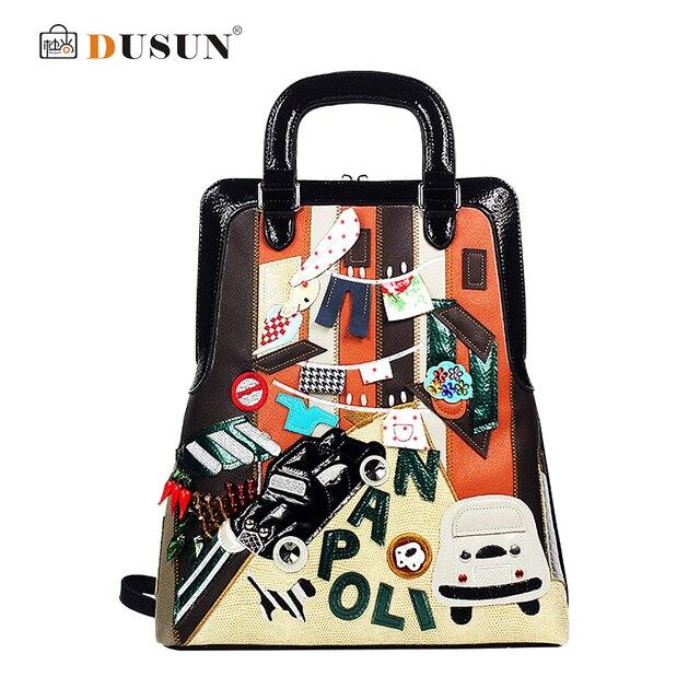 2016 New Arrival National Trend Women Leather Backpack Appliques Travel Bags Student School bag Mochila Designer Brand Spain bag