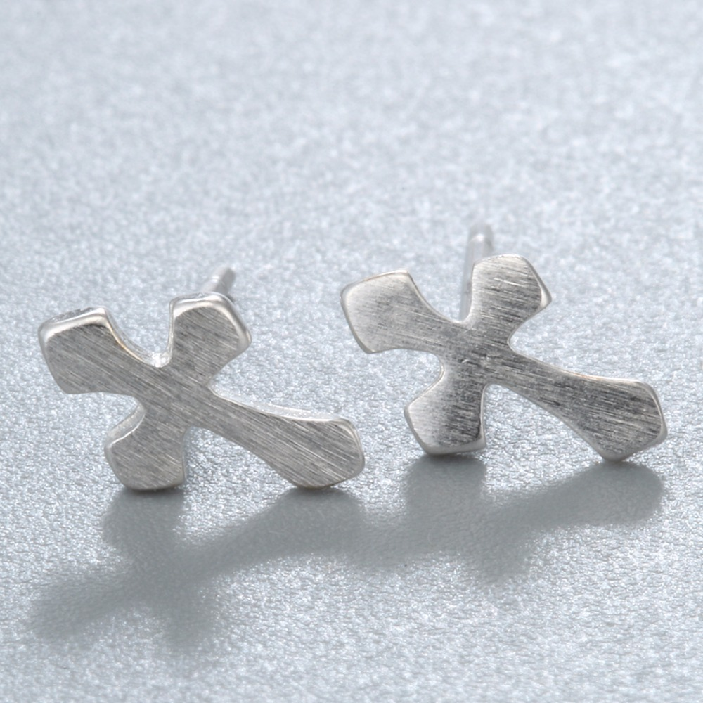 QIMING New Arrivals Silver Christian Cross Earrings For Women Men Jewelry Pendientes Brincos Fashion Jewelry Stud Earrings