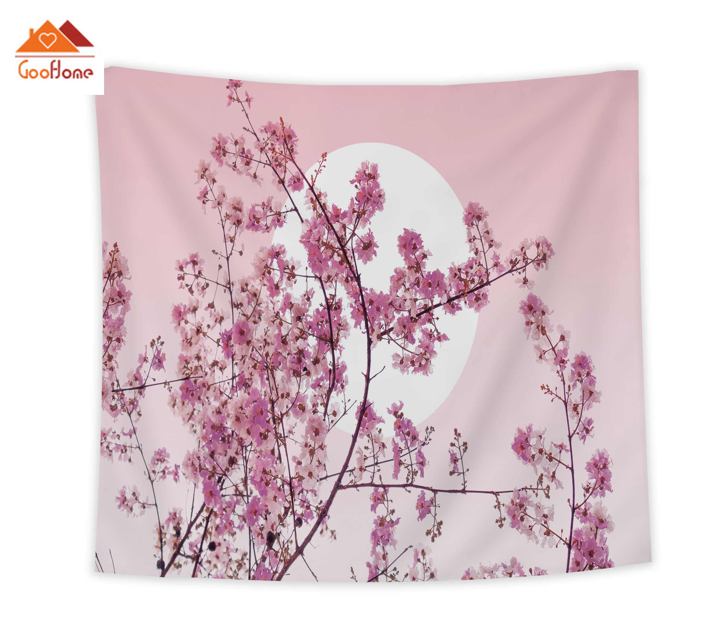 Goohome Japanese Cherry Blossoms Pink Tapestries Wall Decor Wall Decor Bedspread Tapestry Coverlet Curtain Sheet Towel Wrinkle