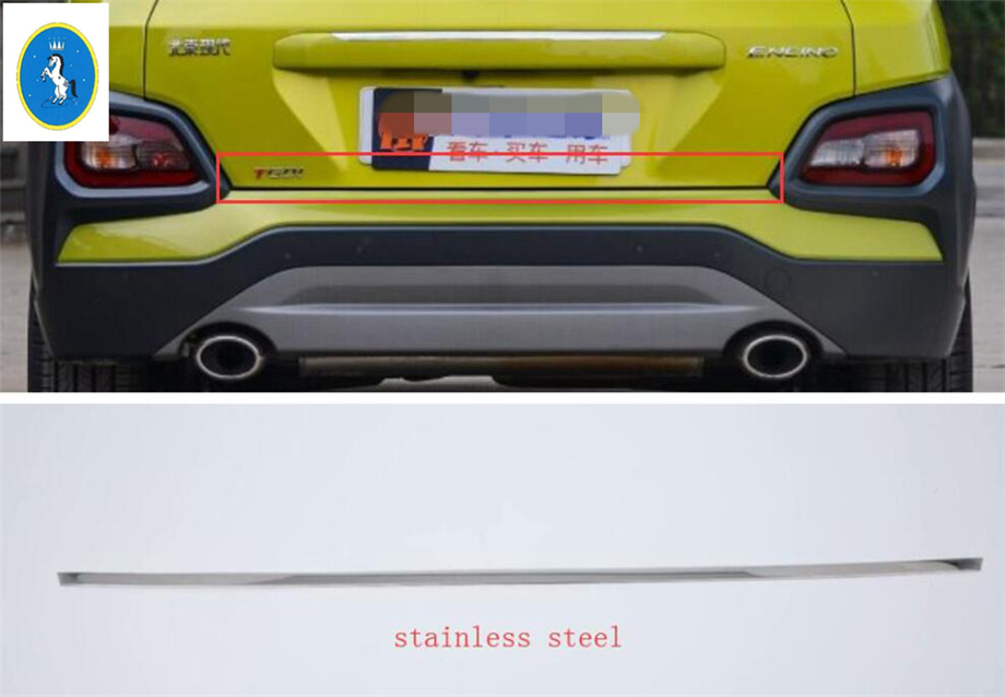 Yimaautotrims For Hyundai Kona 2018 2019 Stainless Steel Rear Tailgate Trunk Door Lid Decoration Strip Cover Trim 1 Pcs in Chromium Styling from Automobiles Motorcycles