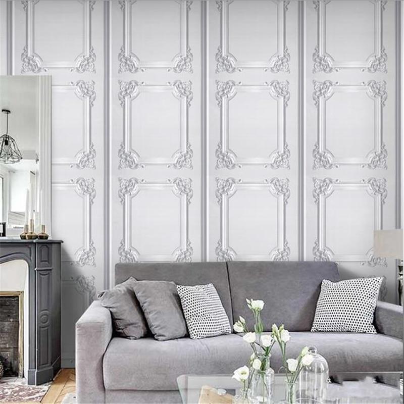 Beibehang minimaliste style européen papier peint vintage style nordique salon fond papier peint plafond carré treillis