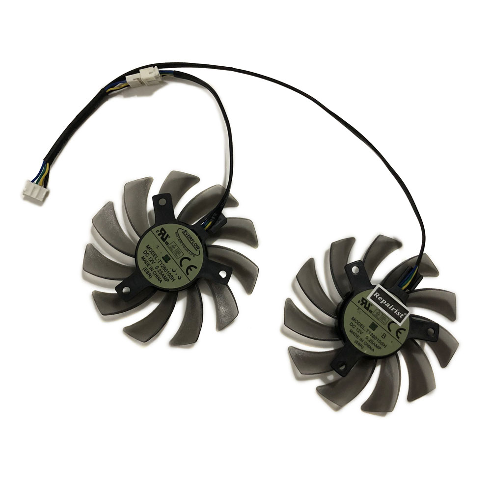 2pcs/set Graphics Card Fan 75MM 4Pin VGA Cards Cooler For ASUS <font><b>GTX650TI</b></font> 660Ti GTX750 GTX760 GTX770 R7260 Video Card Cooling image