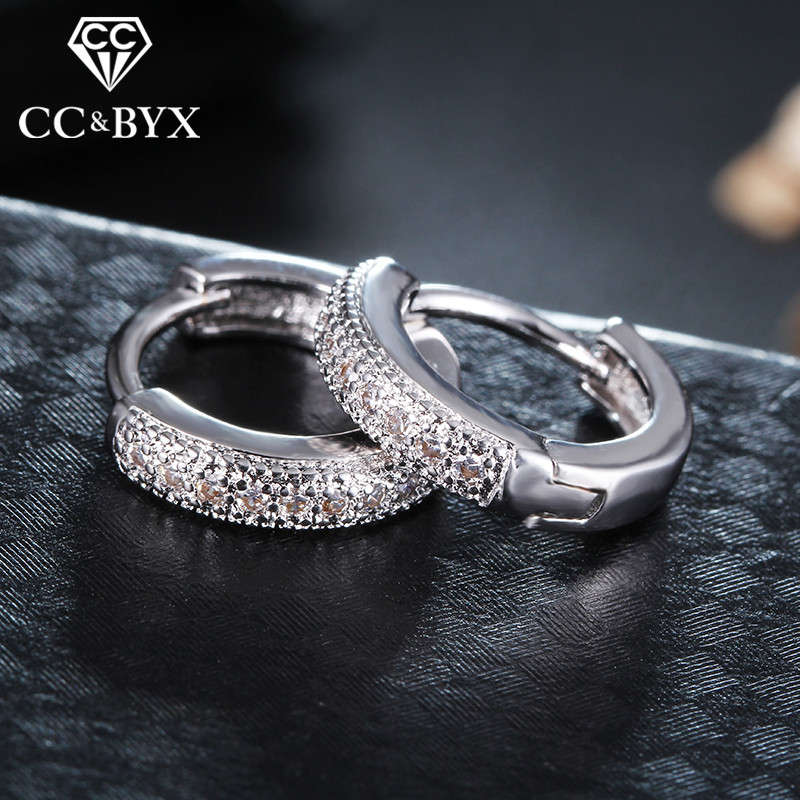 Vintage CZ Small Hoop Earrings For Women White Gold color Fashion Jewelry Earring Boucle d'oreille CCE018