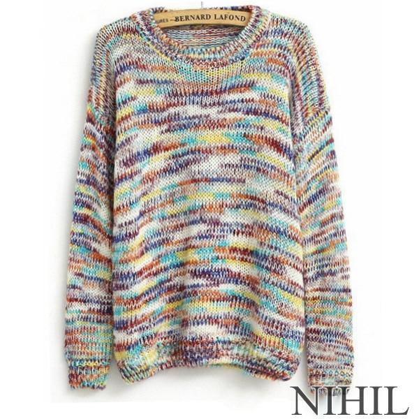 Arco Iris de manga larga invierno suéter 2017 nuevas mujeres crochet ...