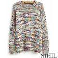 Do arco-íris longo Inverno camisola De manga 2016 nova mulheres Crochet Tricotado pulôver ocasional Blusas De Inverno outono Blusas De malha