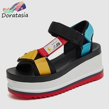 DORATASIA New INS Hot Fashion Colored Thick Platform Sandals Women 2019 Summer Girl Sweet High Shoes Women Wedges Shoes Woman doratasia hot sale fashion platform open toe sweet bowtie women mules pumps slip on wedges high heels summer shoes
