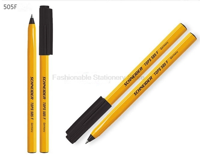 20 Pcs Schneider Tops 505f Waterproof Ballpoint Pen Large Capacity Yellow Body 0 5mm Black