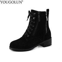 YOUGOLUN Women Cow Suede Ankle Boots Autumn Winter Zipper Square Heel 4 5 Cm Shoes Black