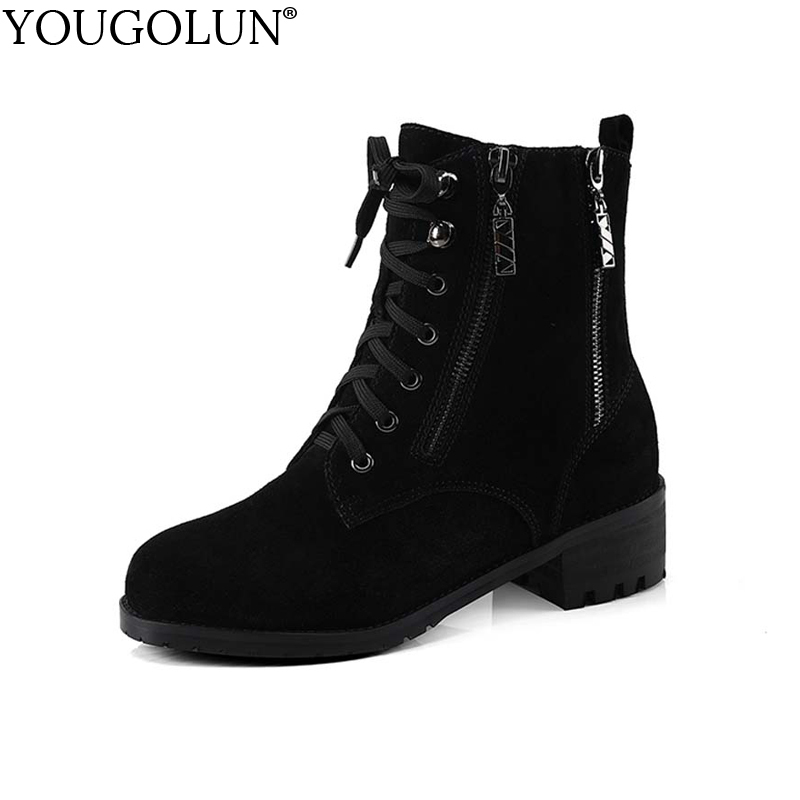 YOUGOLUN Women Ankle Boots Cow Suede Autumn Winter Zipper Square Heel 4.5 cm Shoes Black Lace up Nubuck Mid Heels #Y-161 euro style spring autumn women ankle boots platforms square heel ankle boots lace up fashion motorcycle boots martin shoes