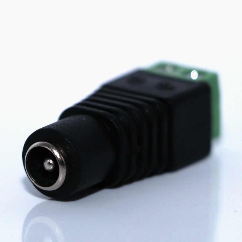 Zasilacz prądu stałego wtyczka adapter gniazda jack złącze wtykowe 2.1x5.5mm KS dla CCTV jeden kolor listwy LED 5050 3528 5630 3014 SMD