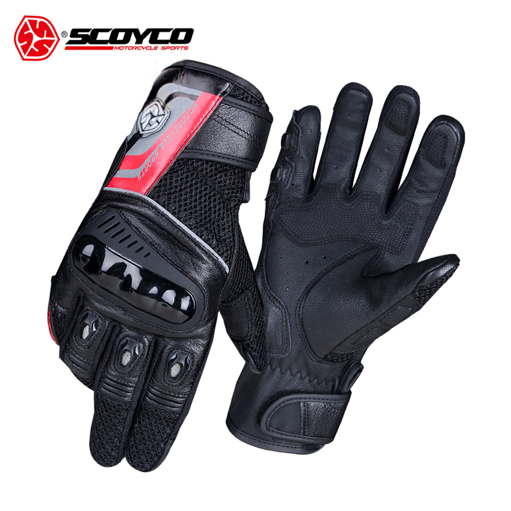 SCOYCO Motorcycle Gloves Moto Breathable Wearable Leather Racing Gloves Men Motorbike Guantes Luvas Motocross Gloves 2 Colour scoyco motorcycle gloves leather wearable gants moto motorbike riding protective gloves breathable motocross racing gloves