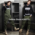 2016 Korean Style Spring Mens Army Green Casual Bib Pants , Fashion Male Slim Jumpsuits , Preppy Style Autumn Overalls For Men