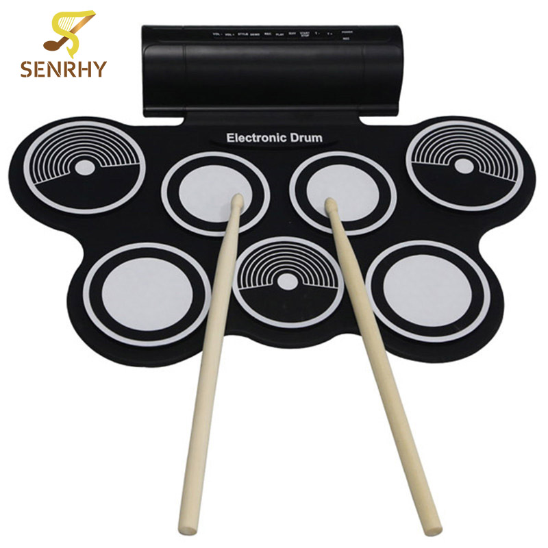 SENRHY Portable Roll Up USB MIDI Machine Electronic Drums Pad Kit MD759 Percussion Instruments with Drumstick for Music Lover 6pcs set 39x 27 5x2 5cm silica gel foldable portable roller up usb electronic drum kit 2 drum sticks 2 foot pedals