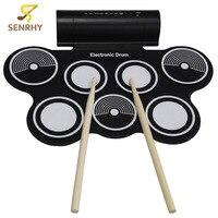 Senrhy المحمولة نشمر الطبول آلة usb midi الإلكترونية سادة عدة MD759 الآلات الإيقاعية مع مضرب للموسيقى العشاق