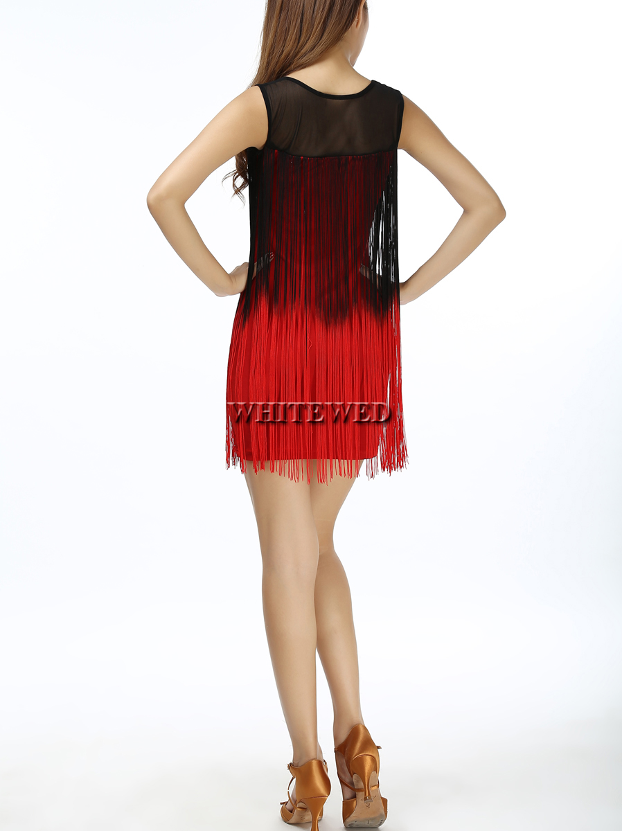 Two tone gradient color illusion neck fringe Tassel embellished tank  western flapper shift prom mini mini latin dress to Party-in Latin from  Novelty ... f762ae1e067a