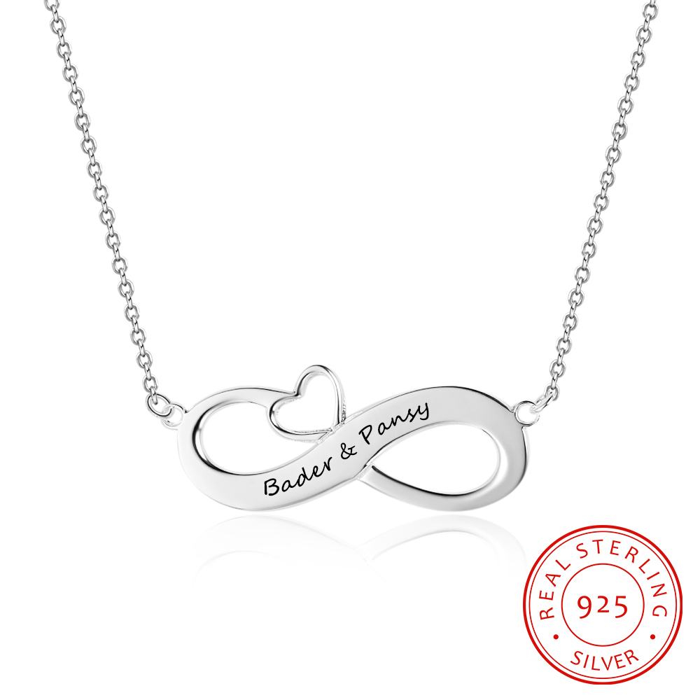 Personalized 925 Sterling Silver Infinity Necklaces & Pendants Eternity Love Jewelry for Women (NE102395)