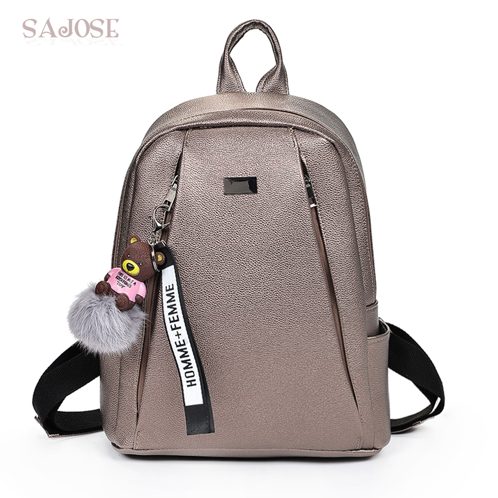 Bag Women Fashion Pendant Leather Backpacks Cute Shoulder Schoolbag For Teenager Girls Femme Mochilas Mujer DropShipping hot fashion design personality little bear women backpacks cute character shapes cartoon girls schoolbag casual shoulder bag