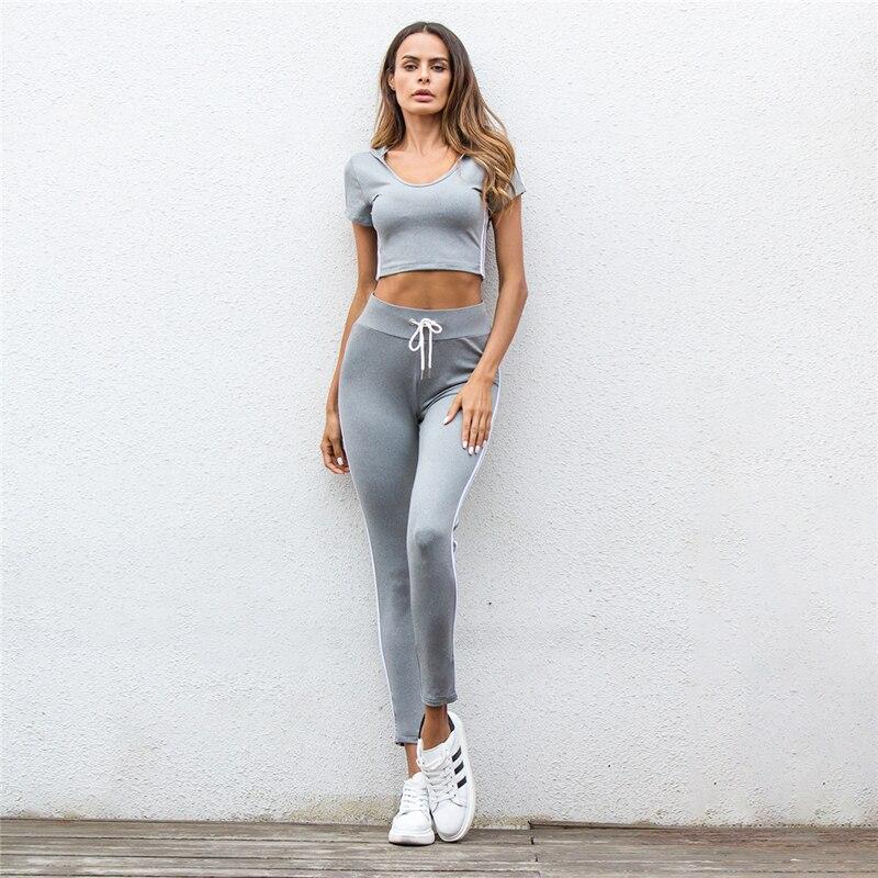 produits chauds nouveau sommet 100% de satisfaction Sports Fitness Short Sleeve Cap Suit Women Comfortable ...