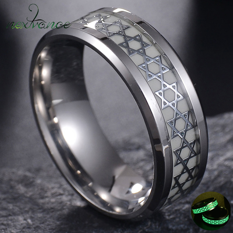 Nextvance Luminous David Star Ring 2 Color Stainless Steel Hexagram Ring Military Promise Jewelry Drop Shipping 1