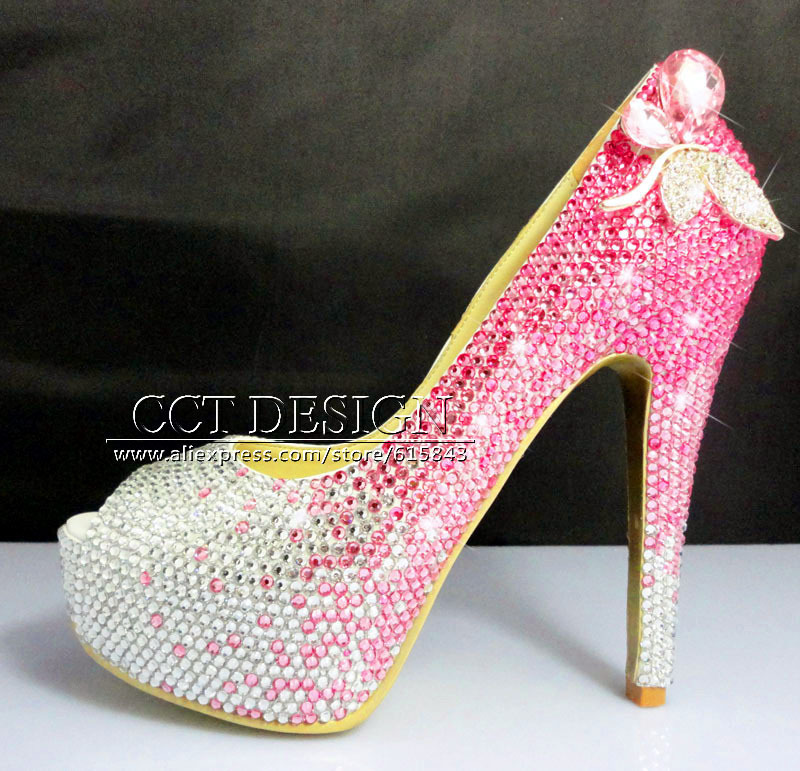 Popular Hot Pink Rhinestone Heels-Buy Cheap Hot Pink Rhinestone