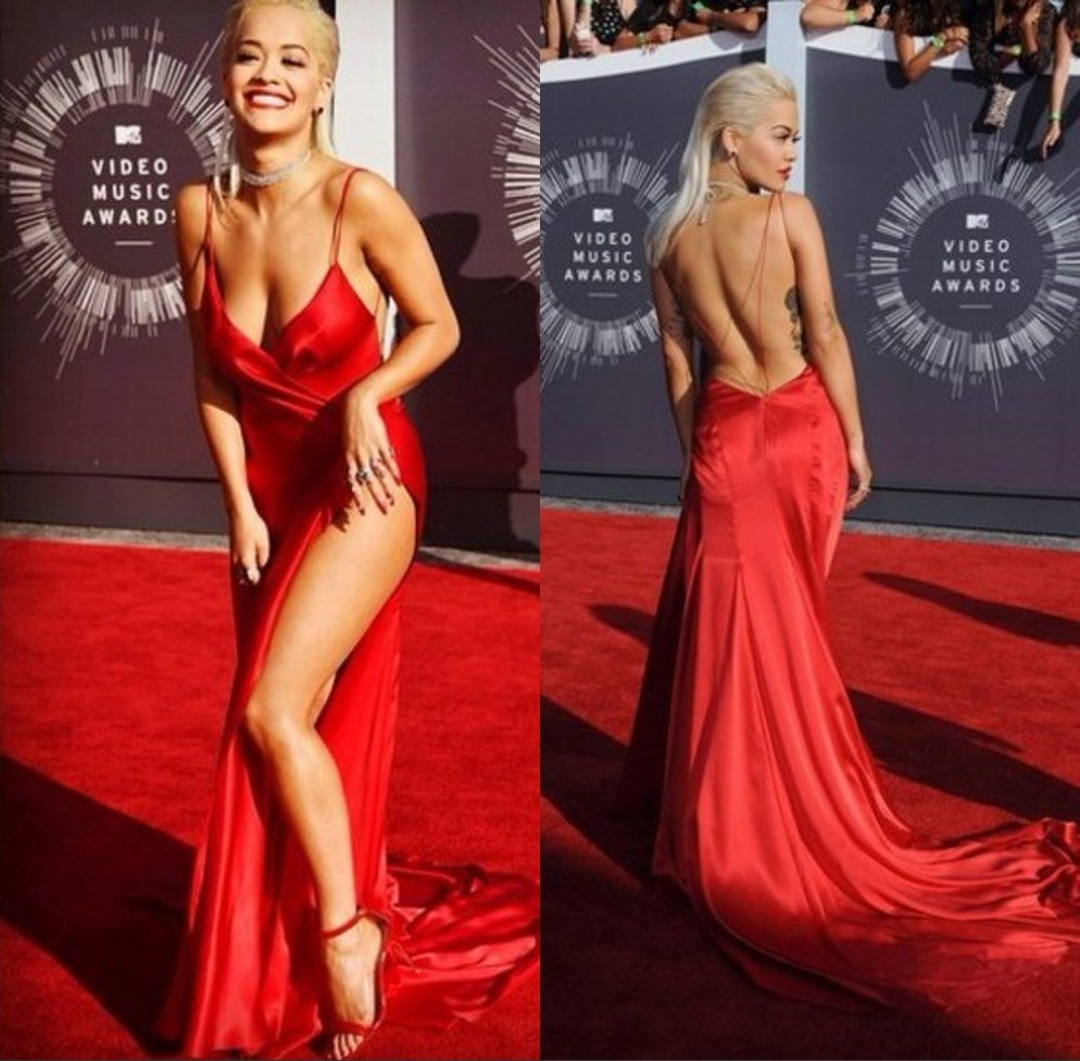 Rita-Ora-Sexy-Red-Carpet-Dresses-2014-V-neck-Spaghetti-Strap-Celebrity-Dresses-Backless-High-Thigh