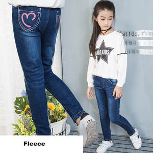 Image 3 - Winter 2018 Fleece Jeans for Children Girls Casual Teenage Thicken Warm Embroidered Trousers 3 12 Years Washing Blue Baby Jeans