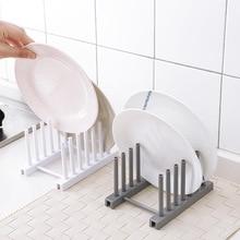 Estante de almacenamiento de placa de plato multifuncional de plástico organizador de cuenco de plato