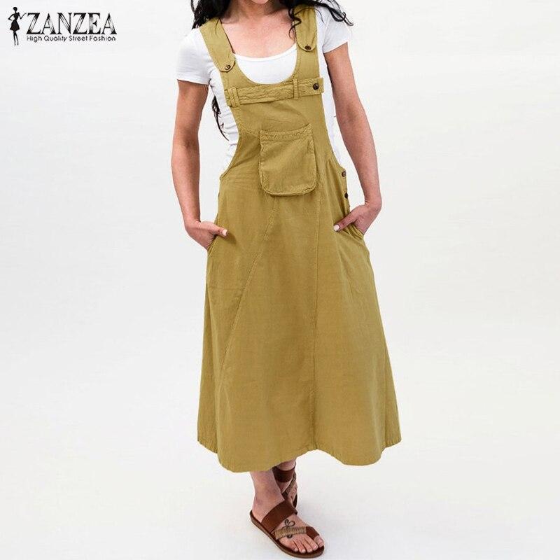 ZANZEA 2021 Summer Long Dress Women Casual Vintage Dresses Mid Calf Vestidos Pockets Strapless Sundress Plus Size S-5XL Overalls