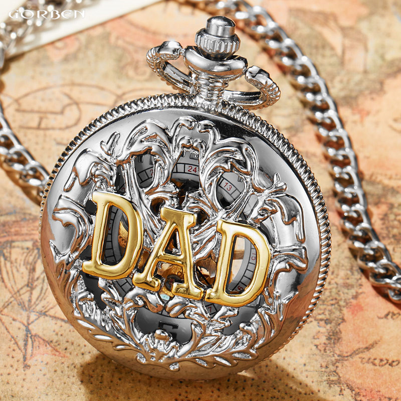 Luxury Antique DAD Silver Hollow Hand Wind Mechanical Fob Pocket Watches Mens Father's Day Best Gifts Set Full Steel Male Clock цена и фото