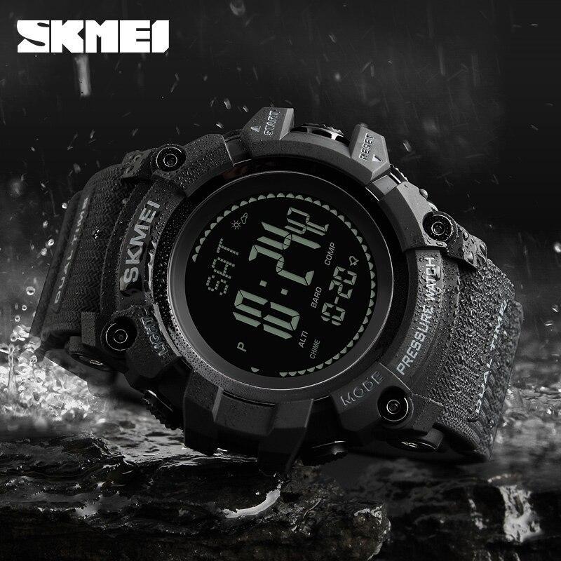 SKMEI marque boussole montre hommes Sport mode montre bracelet podomètre kilométrage Calories compte à rebours altimètre répéteur réveil 1358|Montres sport| |  -