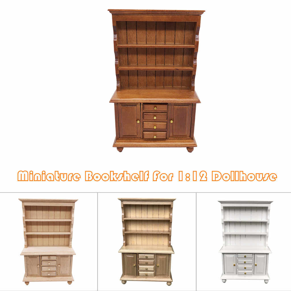 1 12 Dollhouse Wooden Drawer Bookshelf Miniature Furniture