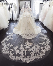 Romantic Wedding White Lace Applique Bridal Veil One Tier Cathedral Length with Comb 300*150cm