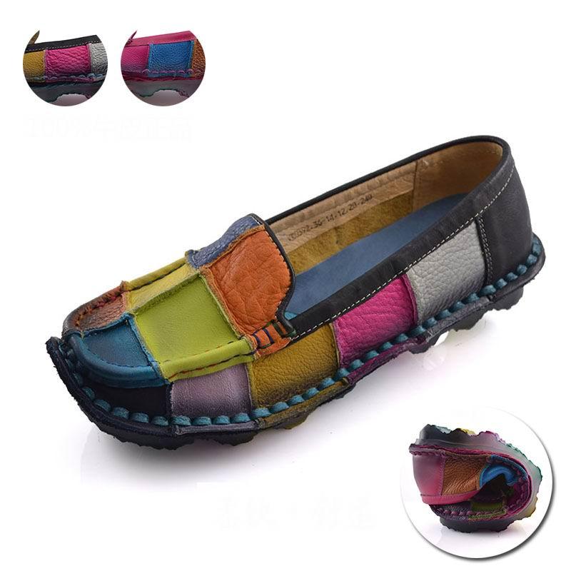Hecho a mano de la vendimia de las mujeres zapatos femeninos de cuero genuino mo
