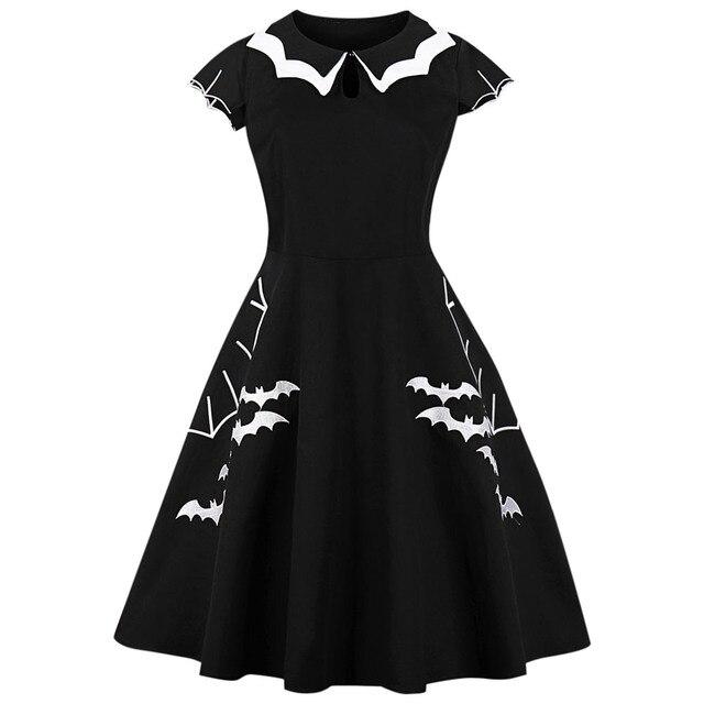 e96b9690e192b Kenancy Halloween Vintage Dress Bat Embroidery Hollow-Out Big Swing Gothic  Party Dresses Plus Size Black Women Dresses Vestidos