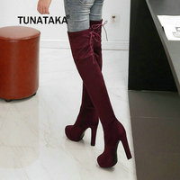 Faux Suede Thick High Heel Thigh Boots Fashion Platform Side Zipper Over The Knee Shoes Woman