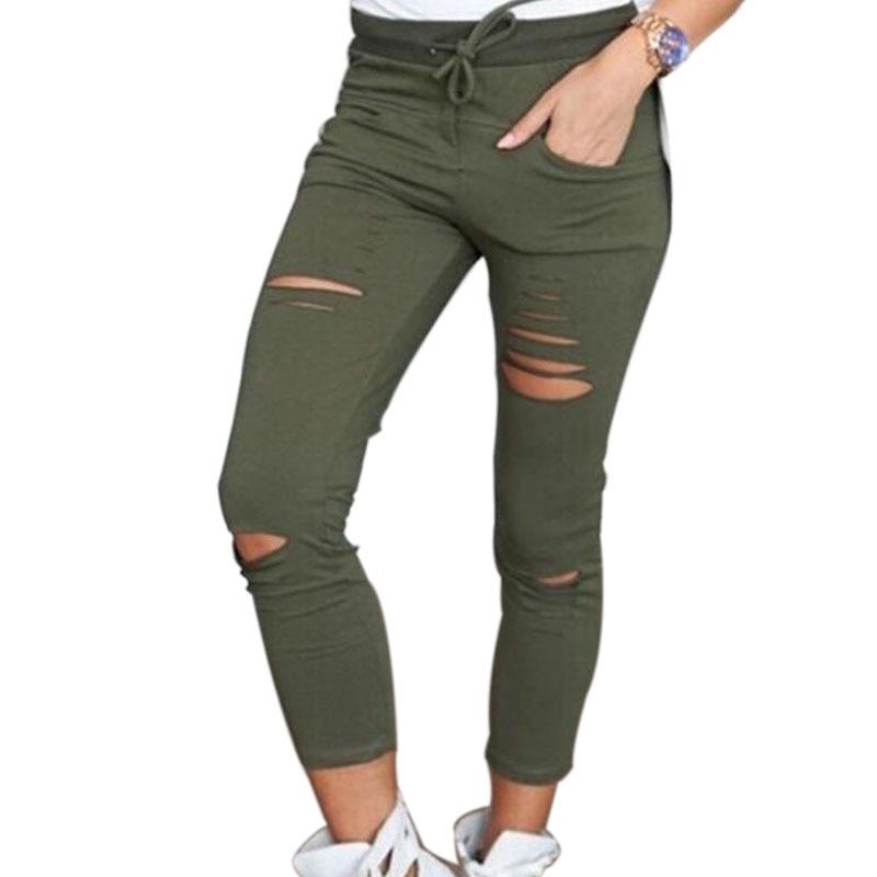 2017 XM Women Fashion Cotton Hole Pencil Pants Skinny Nine Points Pants High Waist Stretch Jeans Slim Pencil Trousers Capris