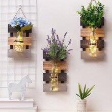 44*17,3 см стеклянная ваза с гидропонным растением, пасторальная настенная деревянная Цветочная ваза для украшения дома