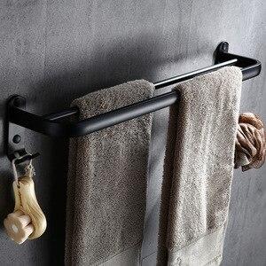 Image 3 - Bathroom 50cm double Bar Black Towel Rack Wall mounted Black Toilet Space Aluminum Towel Bar with Hook Bathroom Accessories