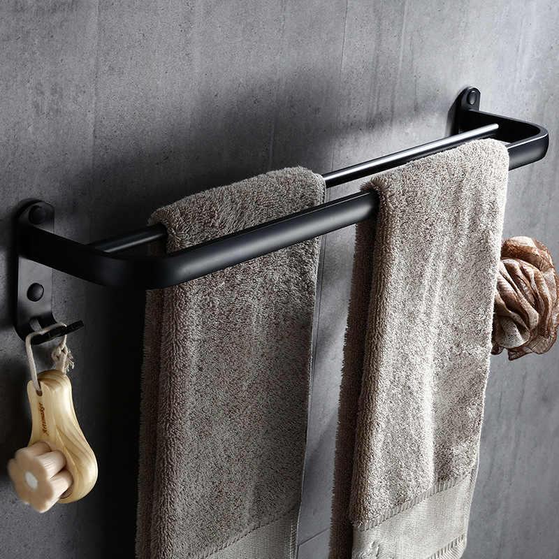 Łazienka 50cm podwójny pręt czarny wieszak na ręczniki naścienny czarny toaletowy aluminiowy wieszak na ręczniki z haczykiem akcesoria łazienkowe