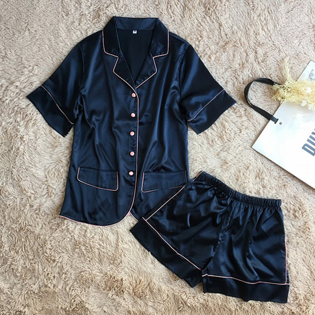 3c3ab921e0 TERMEZY Silk Satin Pajama Ladies Lingerie pyjamas Set Nightgown Navy Blue  Pijamas Suit Sleepwear Home Wear
