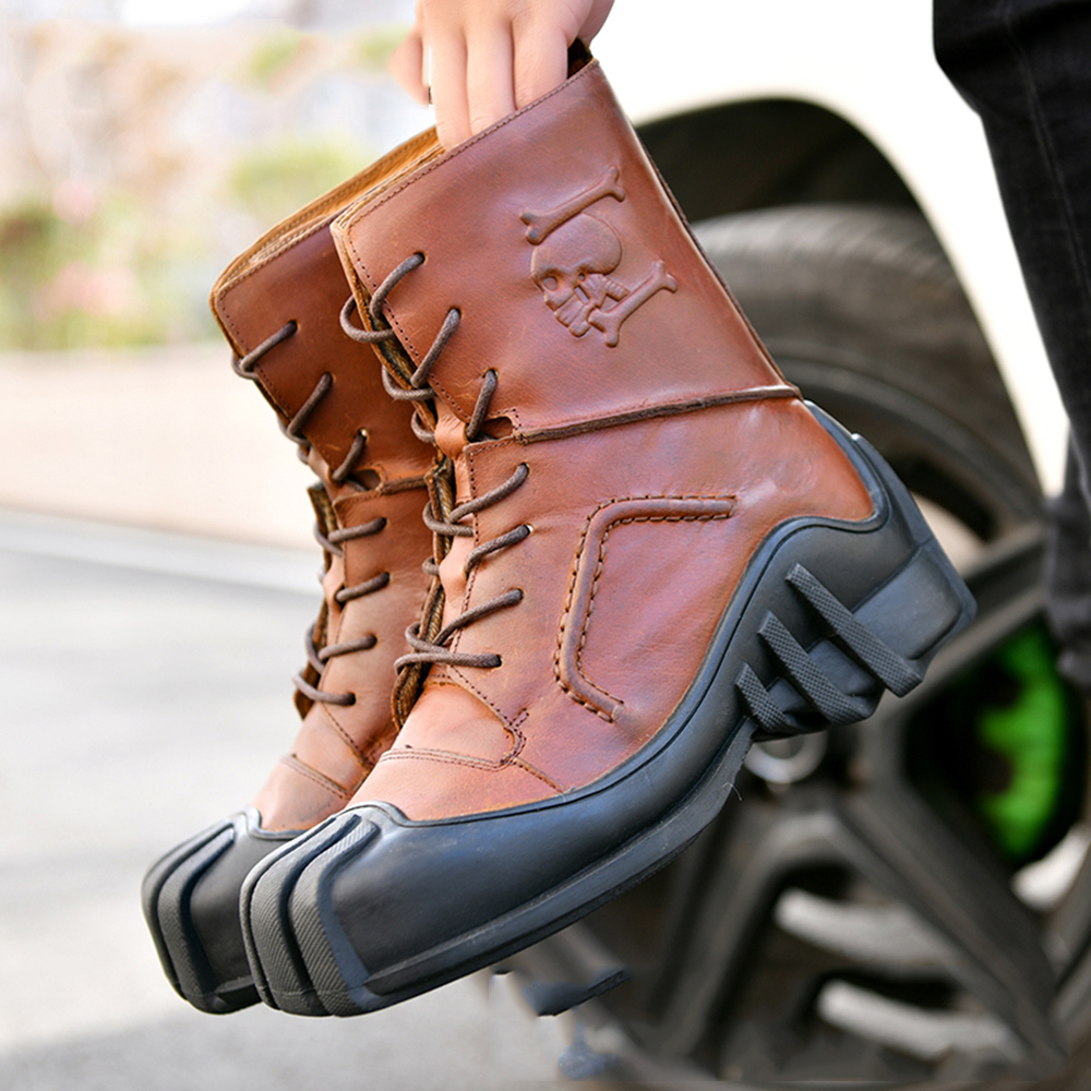 Image result for Genuine Leather Motorcycle Boots Mid-Calf Motorcycle Shoes Street Riding